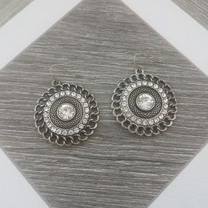 Silver Diamond Statement Hanging Earrings